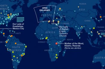 This map illustrates 500 years of Mary's apparitions